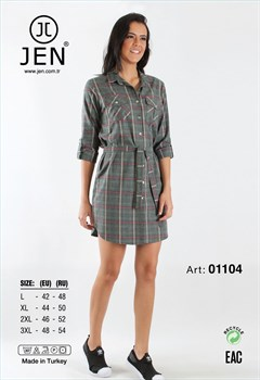 Платье-рубашка фланель - фото 7630