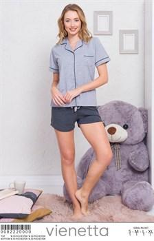 Пижамный комплект рубашка шорты - фото 7843