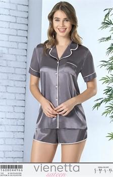 Пижамный комплект рубашка шорты шелк sateen - фото 8019