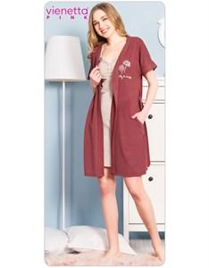 Комплект халат с сорочкой PINK