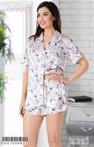 Пижамный комплект рубашка шорты шелк sateen